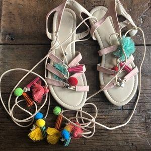 ASOS FERA Novelty Pom Pom Tassel Sandals 6